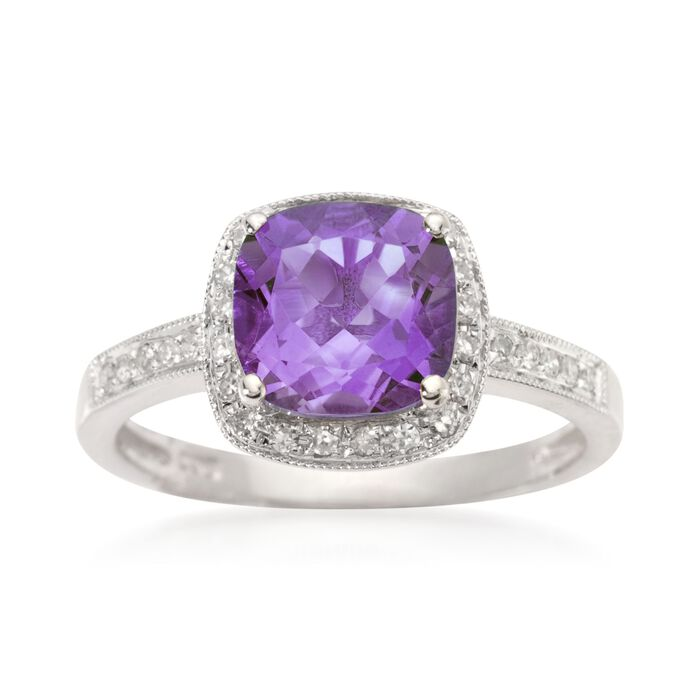 2.05 Carat Amethyst and 10 ct. t.w. Diamond Ring in 14kt White Gold