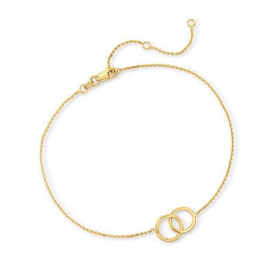 14kt Yellow Gold Interlocking-Circle Anklet