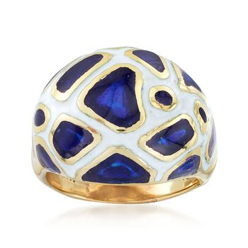 C. 1970 Vintage White and Blue Enamel Dome Ring in 14kt Yellow Gold. Size 6, , default