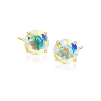 3.00 ct. t.w. Multicolored Mercury Mist Topaz Post Earrings in 14kt Yellow Gold, , default