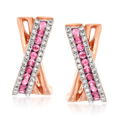 .20 ct. t.w. Pink Sapphire and .18 ct. t.w. Diamond Crisscross Earrings in 14kt Rose Gold, , default