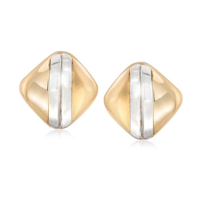 Italian 14kt Two-Tone Gold Striped Earrings, , default