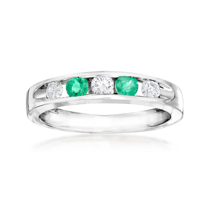 C. 1990 Vintage Giantti .30 ct. t.w. Emerald and .30 ct. t.w. Diamond Band in 18kt White Gold. Size 7