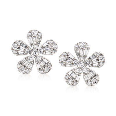 .51 ct. t.w. Diamond Flower Earrings in 14kt White Gold, , default