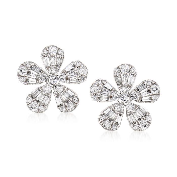 .51 ct. t.w. Diamond Flower Earrings in 14kt White Gold, , default