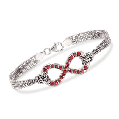Italian 1.10 ct. t.w. Orange Garnet Infinity Symbol Multi-Strand Bracelet in Sterling Silver, , default