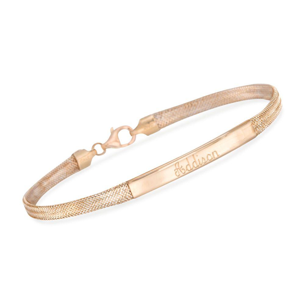 Italian 14kt Yellow Gold Name Bar Id Bracelet