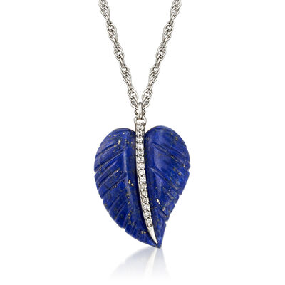 Lapis and .10 ct. t.w. White Zircon Feather Necklace in Sterling Silver, , default