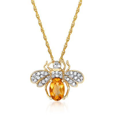 .40 Carat Citrine and .10 ct. t.w. Diamond Bee Pendant Necklace in 14kt Yellow Gold