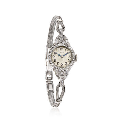 C. 1940 Vintage Elgin Women's .70 ct. t.w. Diamond Watch in 14kt White Gold, , default