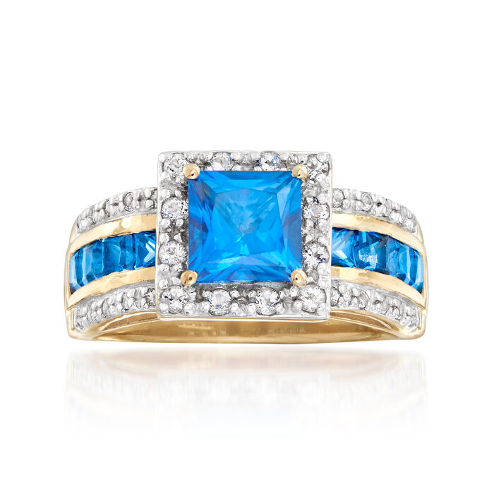 1.98 ct. t.w. Blue and White Swarovski Topaz Ring in 18kt Gold Over Sterling, , default