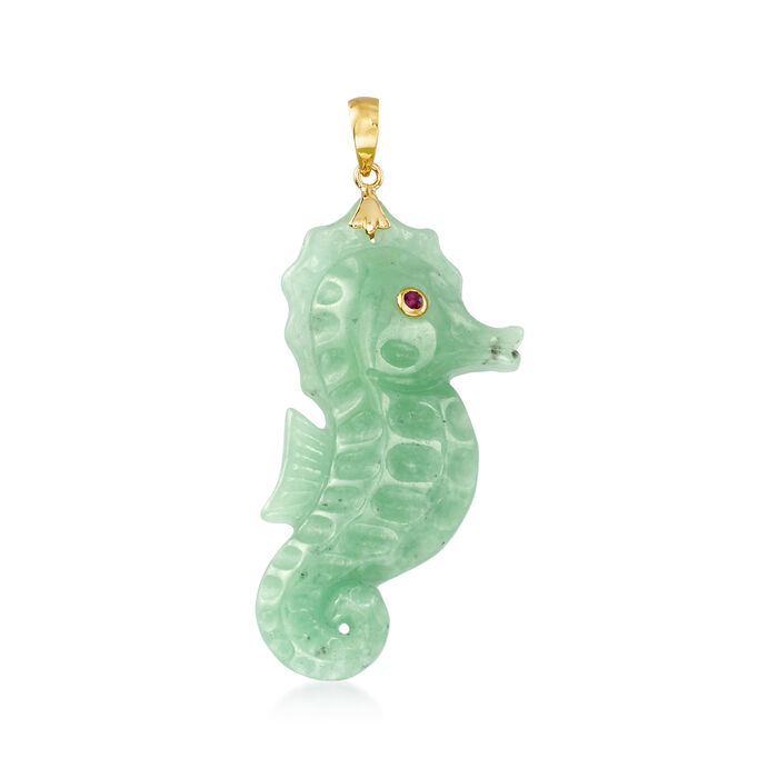 Green Jade Seahorse Pendant with Ruby Accent in 14kt Yellow Gold
