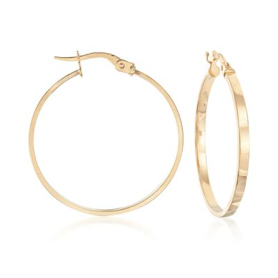 Italian 14kt Yellow Gold Hoop Earrings , , default