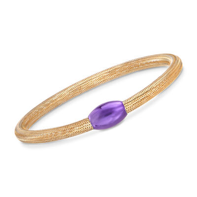 Italian 14kt Yellow Gold Mesh Tube and Purple Bead Center Bangle Bracelet, , default