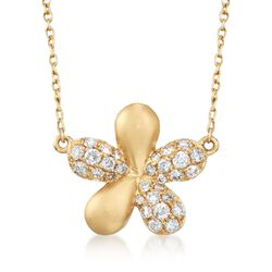 .30 ct. t.w. Diamond Flower Necklace in 14kt Yellow Gold, , default