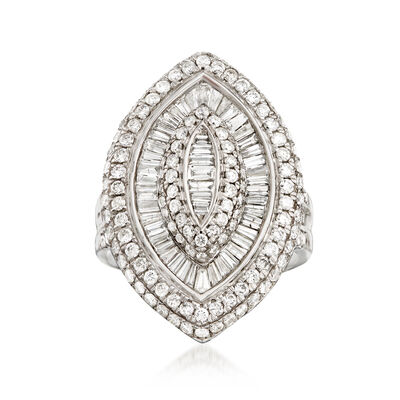 3.00 ct. t.w. Round and Baguette Diamond Marquise-Shaped Ring in 14kt White Gold, , default