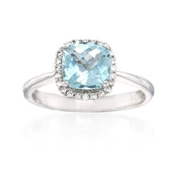 3.00 Carat Aquamarine and .36 ct. t.w. Diamond Halo  Ring in 14kt White Gold, , default