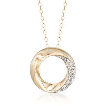 .15 ct. t.w. Diamond Twisted Open Circle Pendant Necklace in 14kt Yellow Gold, , default