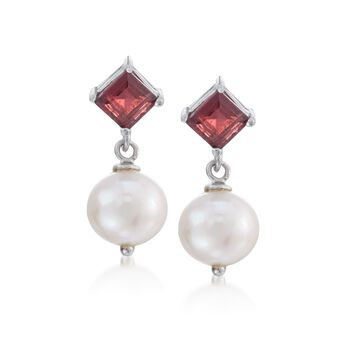 1.40 ct. t.w. Garnet and 8-8.5mm Cultured Pearl Drop Earrings in Sterling Silver, , default