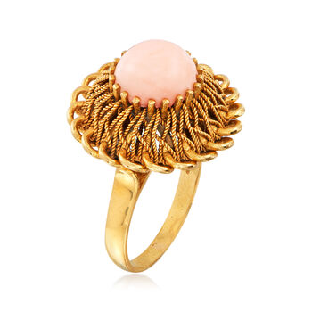 C. 1970 Vintage 9mm Coral Ring in 18kt Yellow Gold. Size 6.25
