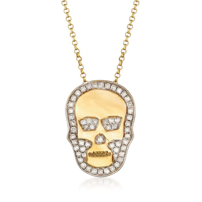".25 ct. t.w. Diamond Skull Necklace in 18kt Yellow Gold. 16"", , default"