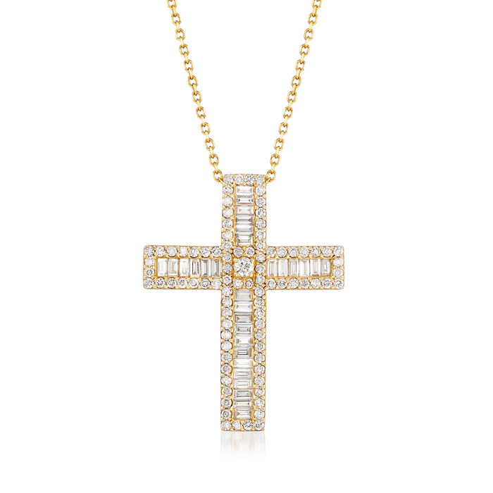 """1.52 ct. t.w. Diamond Cross Necklace in 14kt Yellow Gold. 16"""", , default"""