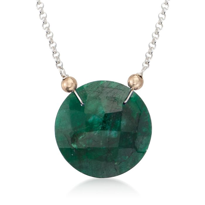 20.00 Carat Emerald Pendant Necklace in 14kt Yellow Gold and Sterling Silver, , default