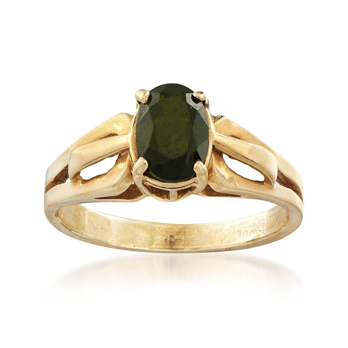 C. 1980 Vintage Tourmaline Ring in 14kt Yellow Gold. Size 5, , default