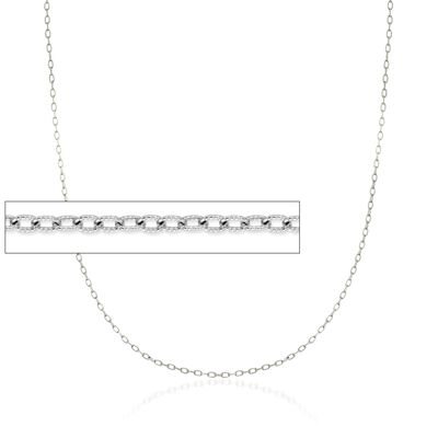 1.9mm 14kt White Gold Textured Cable Chain Necklace, , default