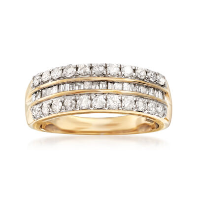 1.00 ct. t.w. Round and Baguette Diamond Three-Row Ring in 14kt Gold Over Sterling, , default