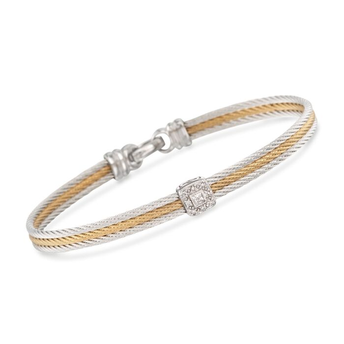 "ALOR ""Classique"" Two-Tone Stainless Steel Cable Bracelet with Diamonds and 18kt White Gold. 7"""