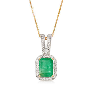"2.10 Carat Emerald and .24 ct. t.w. Diamond Pendant Necklace in 14kt Yellow Gold. 18"", , default"