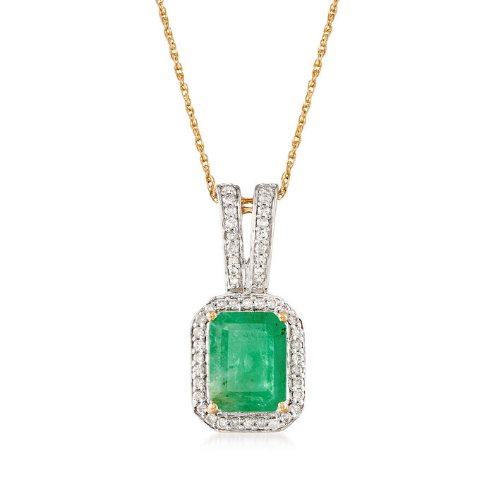 """2.10 Carat Emerald and .24 ct. t.w. Diamond Pendant Necklace in 14kt Yellow Gold. 18"""", , default"""