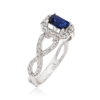 C. 2000 Vintage .70 ct. t.w. Sapphire and .45 ct. t.w. Diamond Ring in 14kt White Gold. Size 6.75, , default