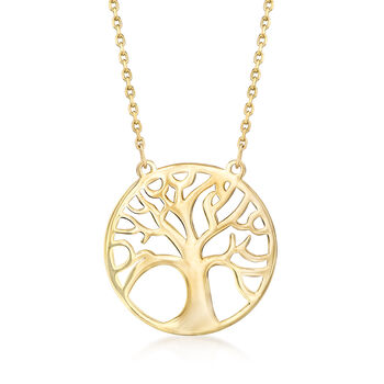 14kt Yellow Gold Tree of Life Pendant Necklace