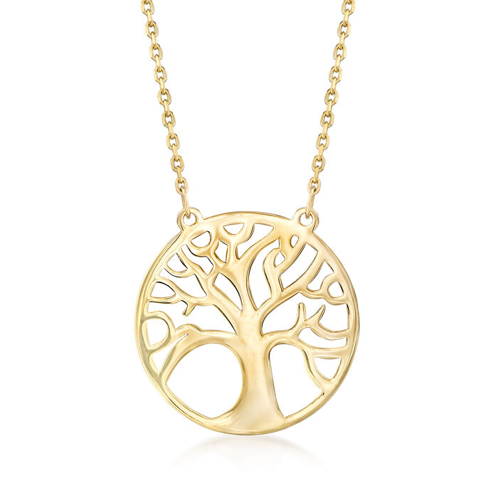 14kt Yellow Gold Tree of Life Pendant Necklace, , default