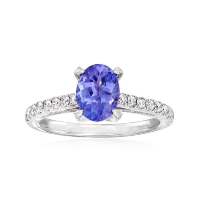 C. 1990 Vintage 1.50 Carat Tanzanite and .45 ct. t.w. Diamond Ring in 14kt White Gold