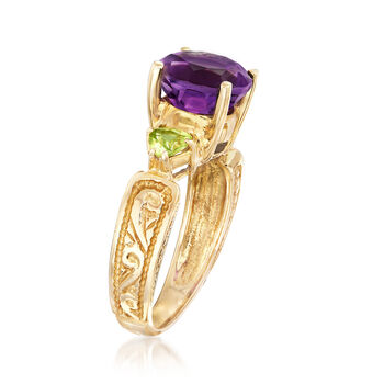C. 1980 Vintage 2.50 Carat Amethyst and .50 ct. t.w. Peridot Ring in 10kt Yellow Gold. Size 6.75, , default