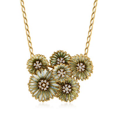 C. 1980 Vintage .90 ct. t.w. Diamond and Green-Blue Enamel Flower Necklace in 18kt Yellow Gold