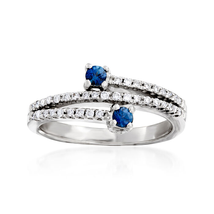 C. 1980 Vintage .30 ct. t.w. Diamond and .20 ct. t.w. Sapphire Bypass Ring in 18kt White Gold. Size 6.5, , default