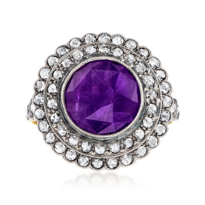 C. 1980 Vintage 2.75 Carat Amethyst and .85 ct. t.w. Diamond Double-Halo Ring in Sterling Silver and 18kt Yellow Gold