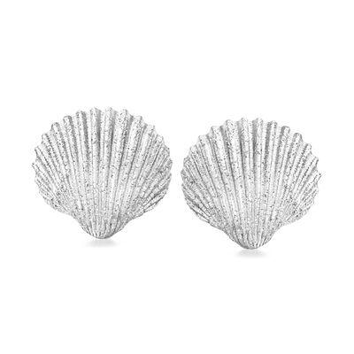 Italian Sterling Silver Sparkle Seashell Earrings