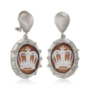 Italian .20 ct. t.w. CZ Crown Cameo Drop Earrings in Sterling Silver, , default