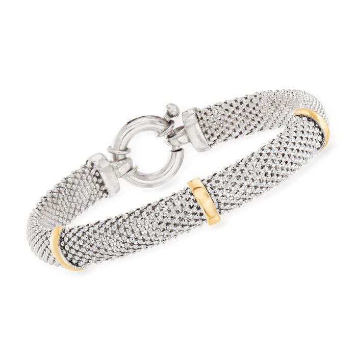 Sterling Silver Popcorn-Link Bracelet with 14kt Yellow Gold Stations