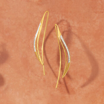 .14 ct. t.w. Diamond Curved Earrings in 14kt Yellow Gold