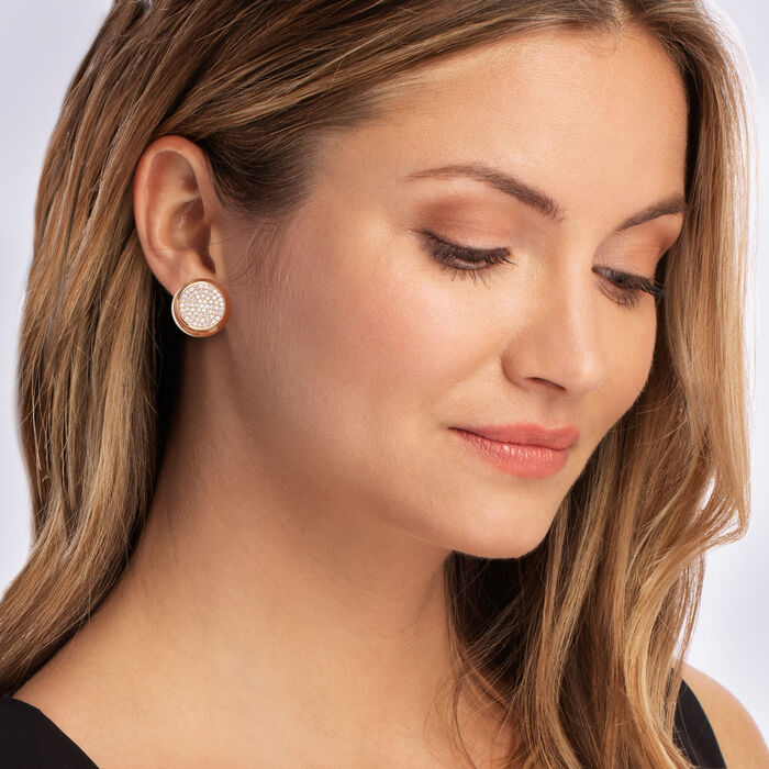 1.20 ct. t.w. Pave Diamond Circle Earrings in 14kt Rose Gold