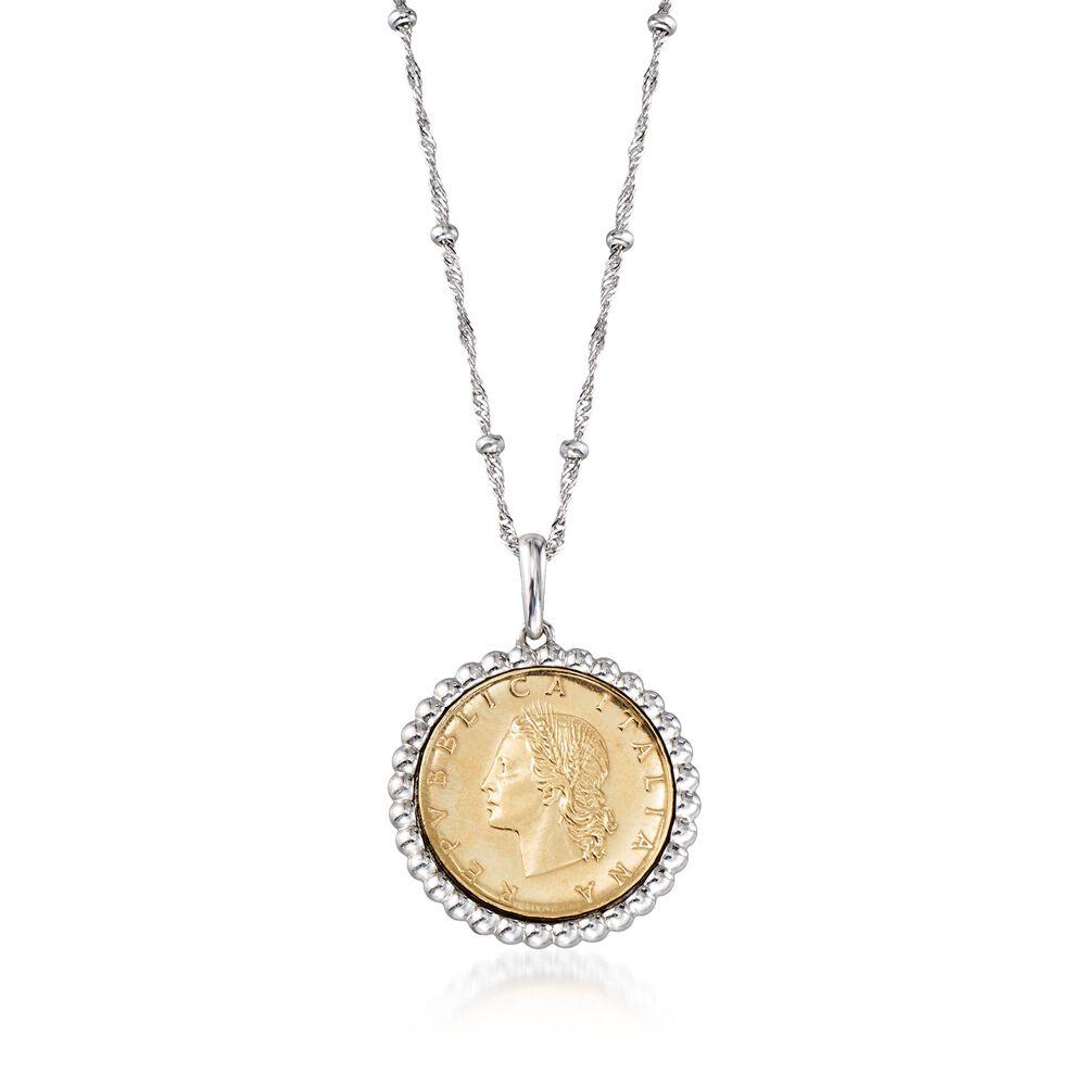 """44d77253aa3e2c Italian Genuine 20-Lira Coin Pendant Necklace in Sterling Silver. 18"""",  ,"""