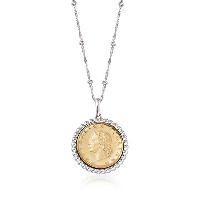 Italian Genuine 20-Lira Coin Pendant Necklace in Sterling Silver, , default