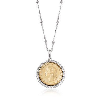 Italian Genuine 20-Lira Coin Pendant Necklace in Sterling Silver, , default