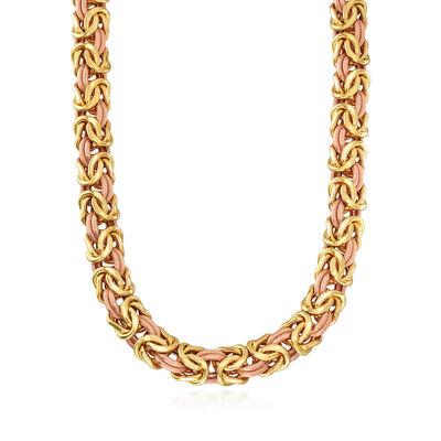 C. 1990 Vintage 18kt Two-Tone Gold Byzantine Necklace, , default